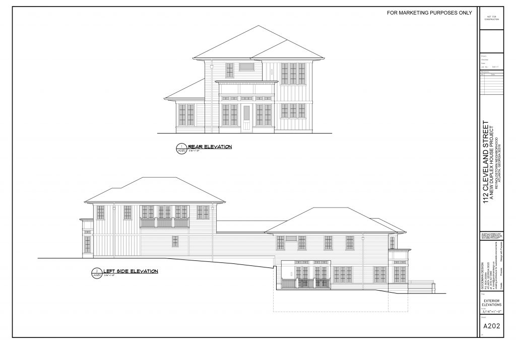 WilliamMarkDesigns Cleveland Street Property Back and Left Elevations