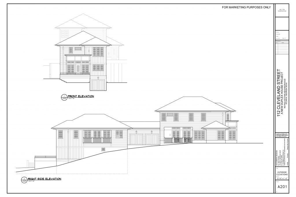 WilliamMarkDesigns Cleveland Street Property Front and Right Elevations