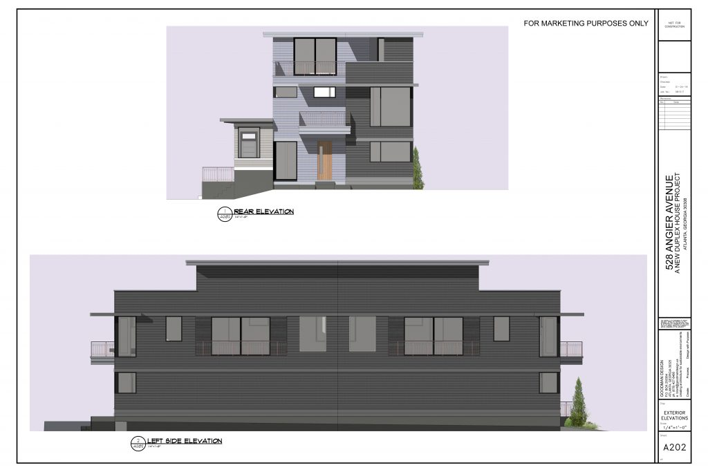 WilliamMarkDesigns Angier Duplex Back and Left Elevations
