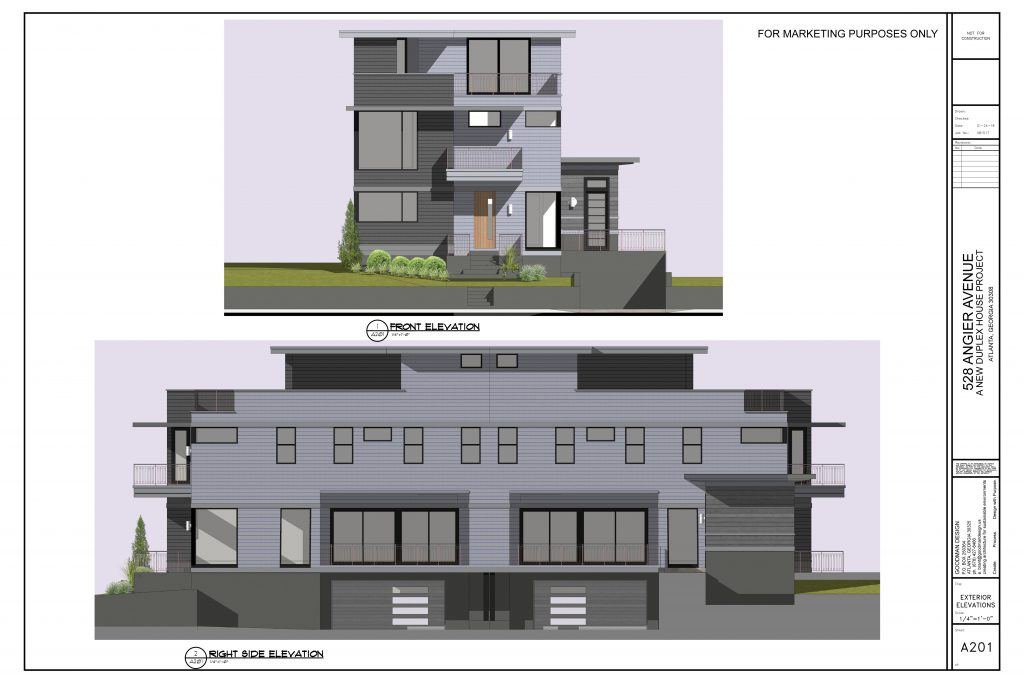 WilliamMarkDesigns Angier Duplex Front and Right Elevations