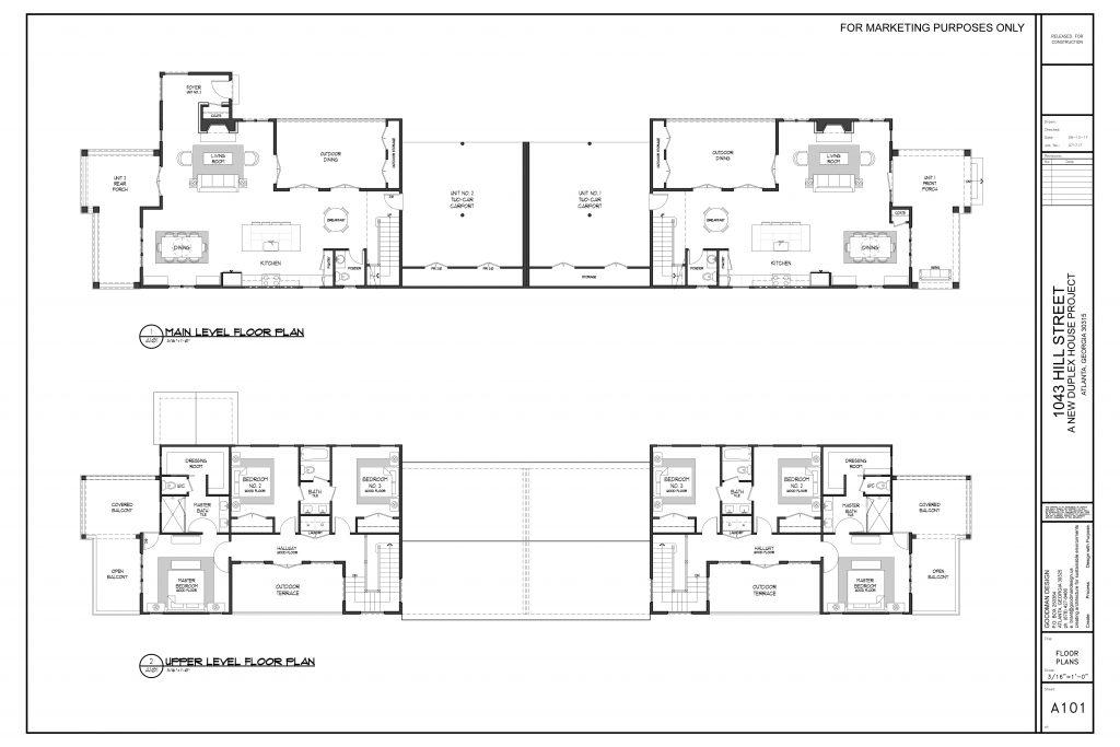 WillaimMarkDesigns Hill Duplex Main and Upper Level Floorplan
